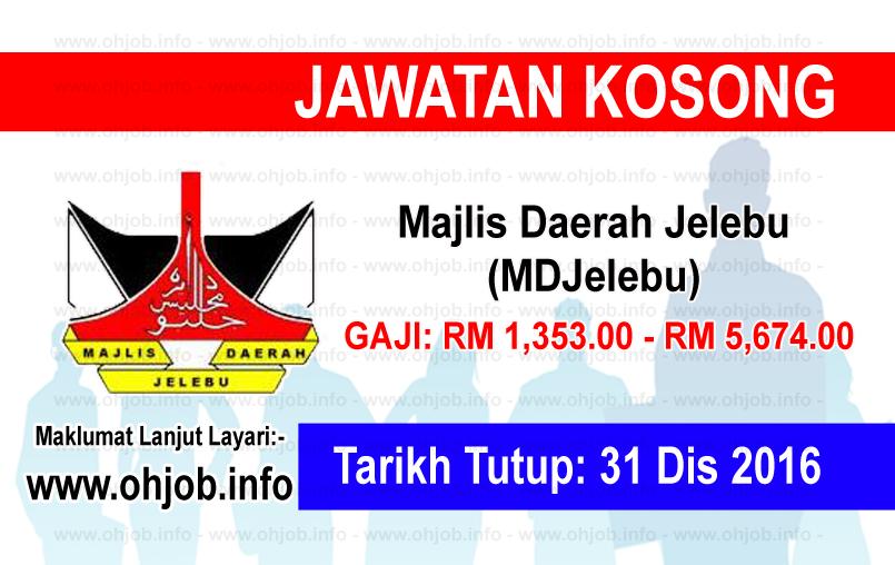 Jawatan Kerja Kosong Majlis Daerah Jelebu (MDJelebu) logo www.ohjob.info disember 2016