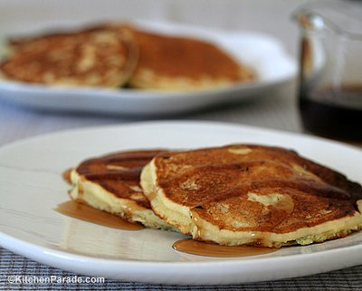 My Mom's Pancake Recipe ♥ KitchenParade.com, light and fluffy homemade buttermilk pancakes or sweet-milk pancakes. Lots of tips & ideas for new cooks.