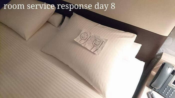 Bored Business Traveler 'Challenges' His Housekeeper In A Funny And Creative Way - Once again the housekeeper left him a friendly note