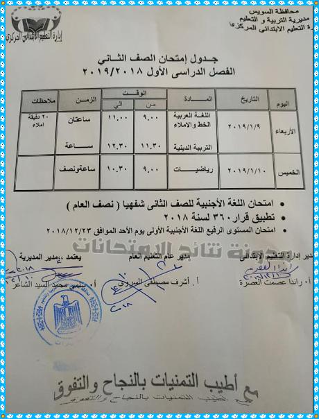 جداول امتحانات آخر العام الترم الثانى محافظة السويس جميع الصفوف 2019