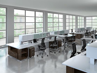 Mayline e5 Open Concept Office Benching Layout