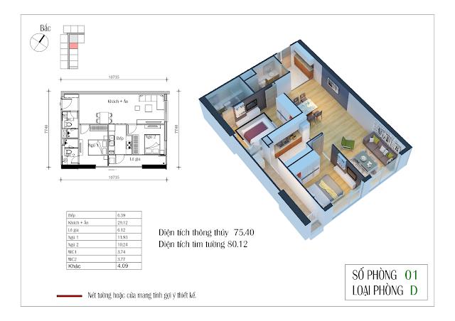 Thiết kế căn hộ số 01: 75,40m2