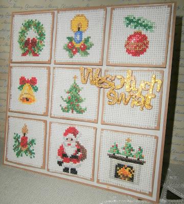 kartka ala patchwork na święta