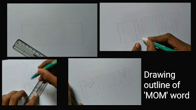 Drawing 3d outline of mom word,Mother's day drawing, step by step tutorial, mom drawing with pencils, happy mother's day, Mother's day pencils drawing