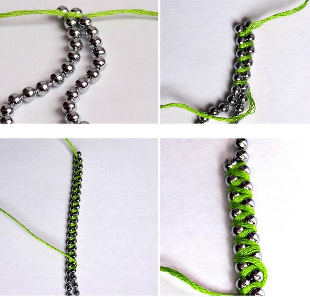 como hacer una pulsera con tiras de abalorios hilo y fijaros bien en el cierre de macrame con nudo adaptable y en la terminacin de la pulsera