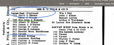 1909 Davenport Iowa city directory East Locust Street