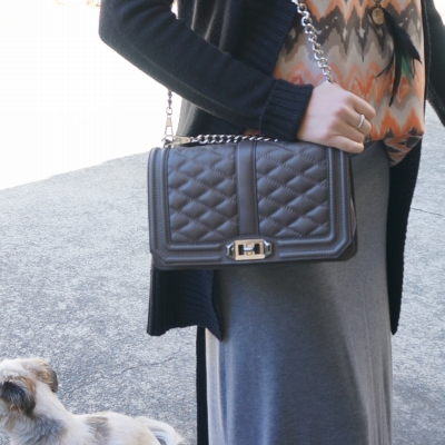 AwayfromBlue | Rebecca Minkoff Love cross body bag in grey with gray marle maxi skirt
