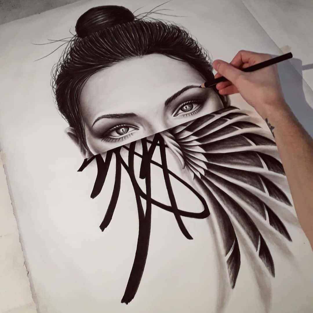 04-Lucien-Gilson-NOIR-Stylised-Portraits-and-Animal-Drawings-www-designstack-co