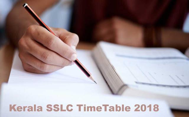 Kerala SSLC TimeTable 2018