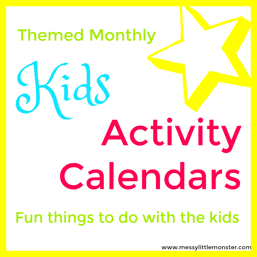 Kids activity calendars full of art, craft and activity ideas for every day of the year! Download your themed monthly activity calendar and join the arty, crafty. messy fun!