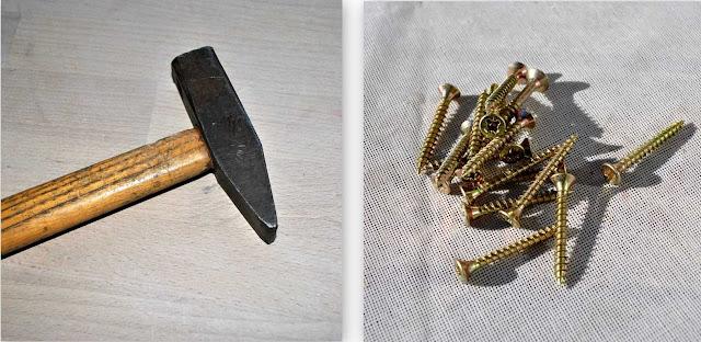 Hammer, Nägel, Schraubenzieher, Schrauben