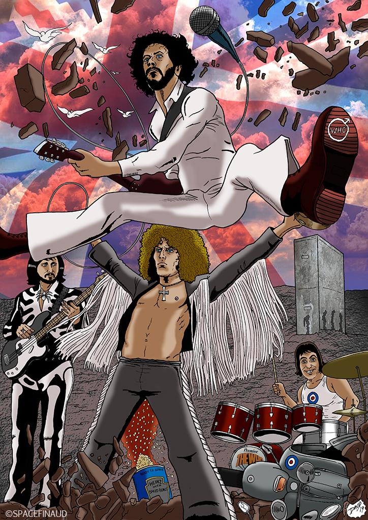 The Who restera un de mes groupes anglais préférés. J'ai voulu représenter le groupe pendant un concert avec tout style d'époque confondu. Et pas mal de clin d'œil comme le bloc de mur pour Who's Next, le scooter en morceau pour Quadrophenia, le pot d'haricots pour The Who Sell Out et les oiseaux pour Tommy... etc.  Roger Daltrey (Chant) Pete Townshend (Guitare) John Entwistle (Basse) Keith Moon (Batterie)  Des albums à conseiller :  The Who Sell Out (1967) Tommy (1969) Who's Next (1971) Quadrophenia (1973)