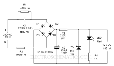 12v 10a dc power supply circuit diagram 12volt transformerless power supply - electronic circuit 12v power supply diagram