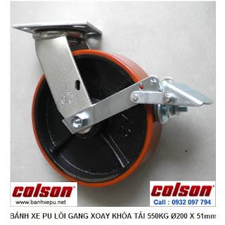 Bánh xe đẩy chịu lực PU lõi gang xoay khóa phi 200 | S4-8209-959-B3 www.banhxedayhang.net
