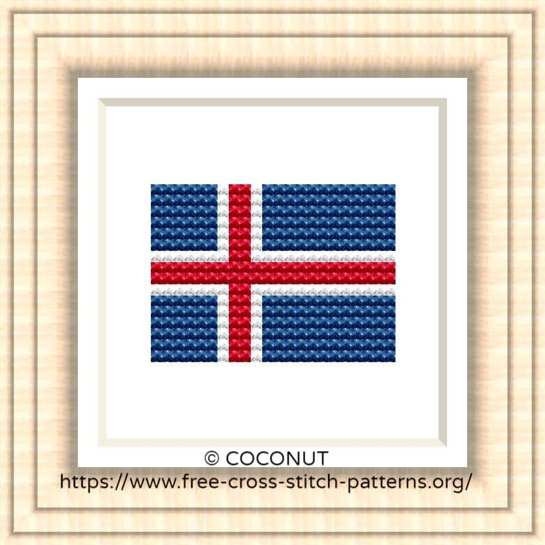 NATIONAL FLAG OF ICELAND CROSS STITCH CHART