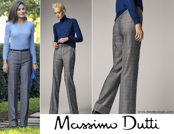 Queen Letizia wore Massimo Dutti large plaid trousers