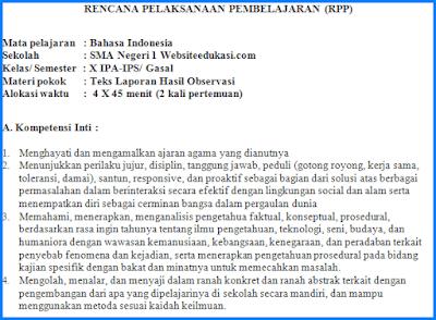 RPP Bahasa Indonesia Kelas 10 Kurikulum 2013 Revisi 2018