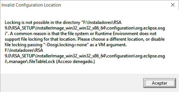 Error Invalid Configuration Location