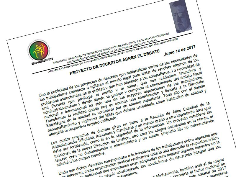 Proyecto de decretos abren el debate Junio 14 de 2017