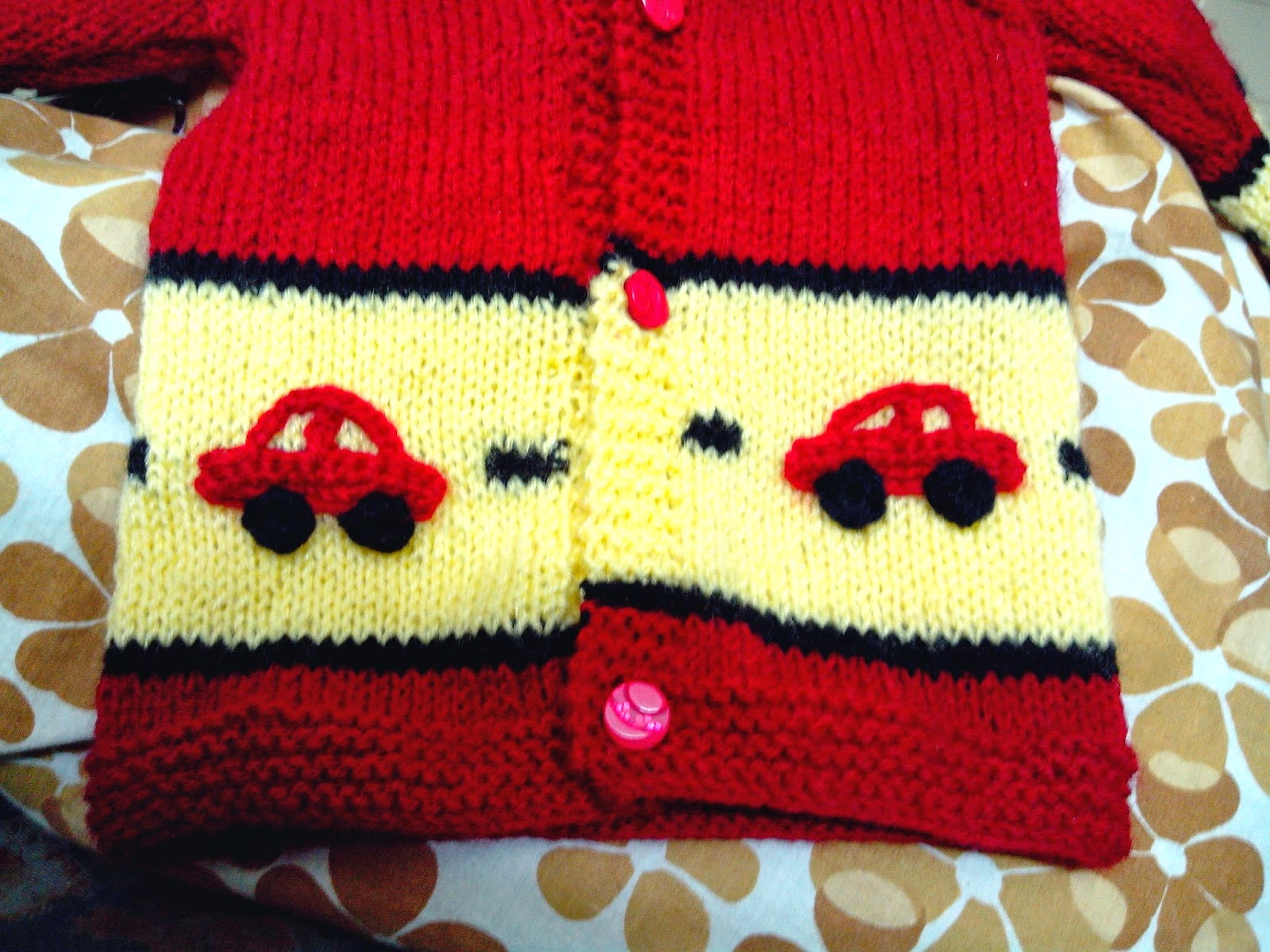 boys' handknit sweater, sweater with little cars