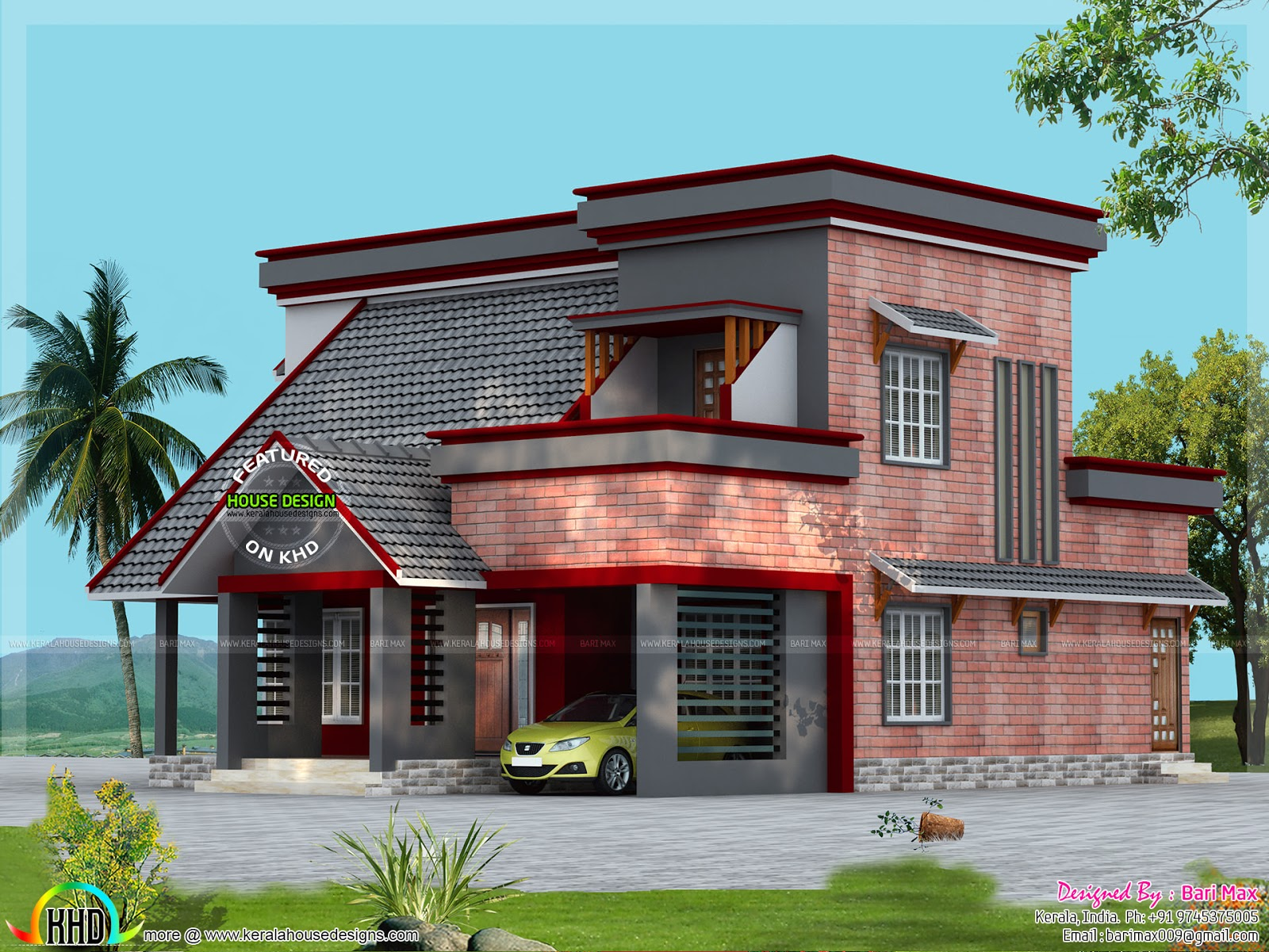 Brick wall mix house design - Kerala home design and floor ...