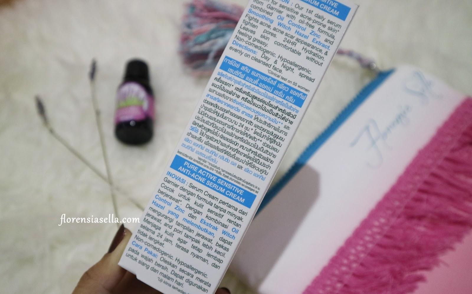 Review Garnier Pure Active Sensitive Anti Acne Cleansing Gel Foam 100 Ml Di Bagian Belakang Box Serum Cream Ini Juga Ada Keterangan Mengenai Produknya Menggunakan 3 Bahasa