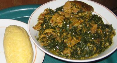 Banga afang soup with a side of eba fufu