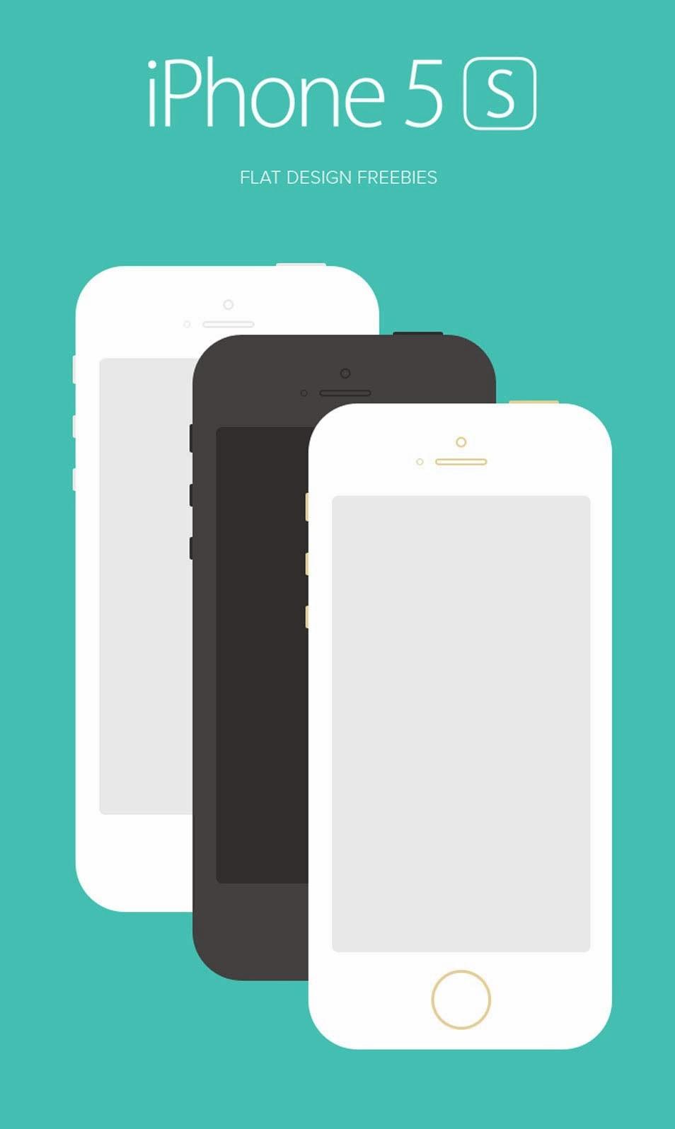 Flat iPhone 5S PSD Design