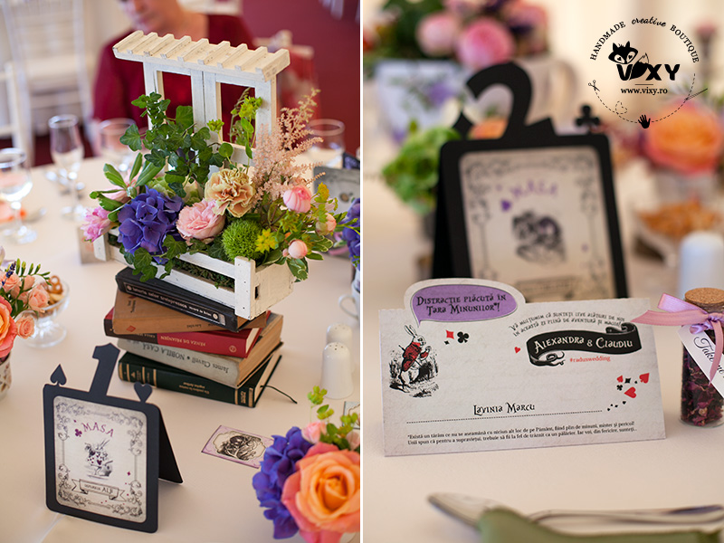 Alice in tara minunilor, invitatie personalizata, numar masa Alice in Tara Minunilor, Alice in Wonderland, vixy.ro, papetarie personalizata, papetarie Alice in tara minunilor, place card Alice in wonderland,