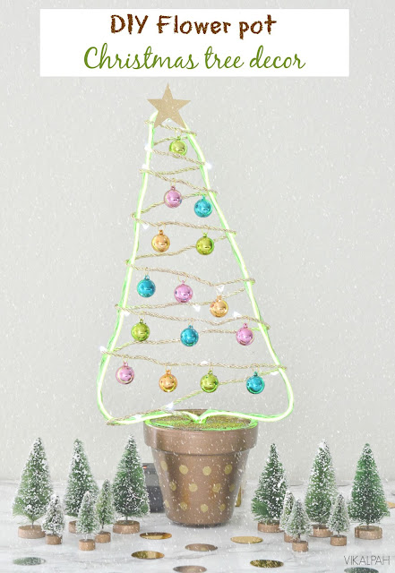 Christmas tree decor using flower pot