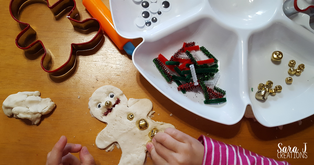 Gingerbread man invitation to play with playdough and fine motor practice