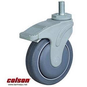 Bánh xe cao su cọc vít có khóa chịu lực 70kg | STO-3854-448BRK4