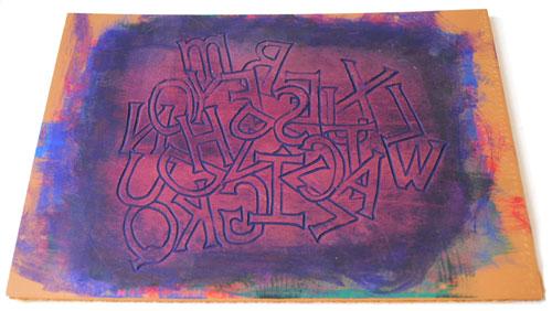 linocut jumbled letters