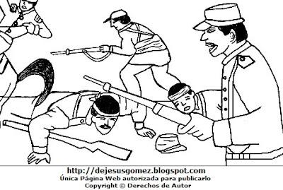 Dibujo de la Batalla de Tarapacá para colorear pintar imprimir - Peruanos en el campo de batalla. Dibujo de la Batalla de Tarapacá de Jesus Gómez