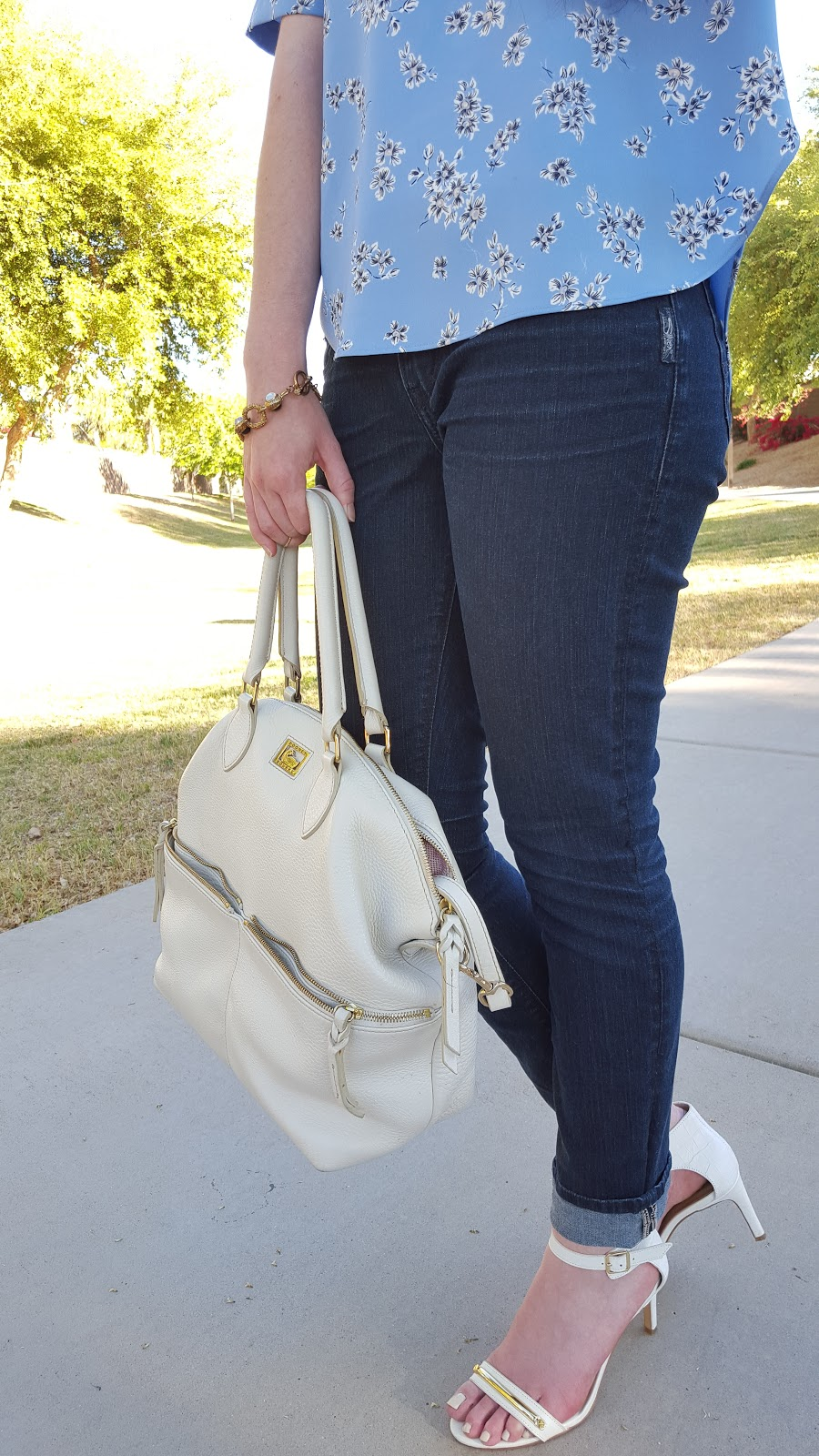chic and easy Spring outfit- a basic top, jeans, and heeled sandals