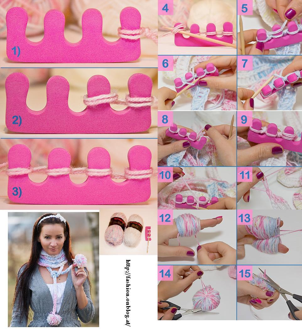 telares, telar, tejer, bufanda, separador manicura, tutoriales, manualidades