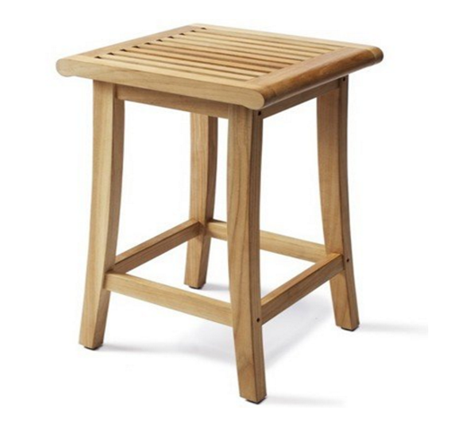 Grade-A Teak Wood Outdoor Patio Garden Backless Bar Stool