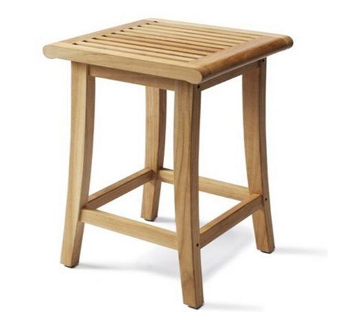 Grade-A Teak Wood Outdoor Patio Garden Backless Bar Stool