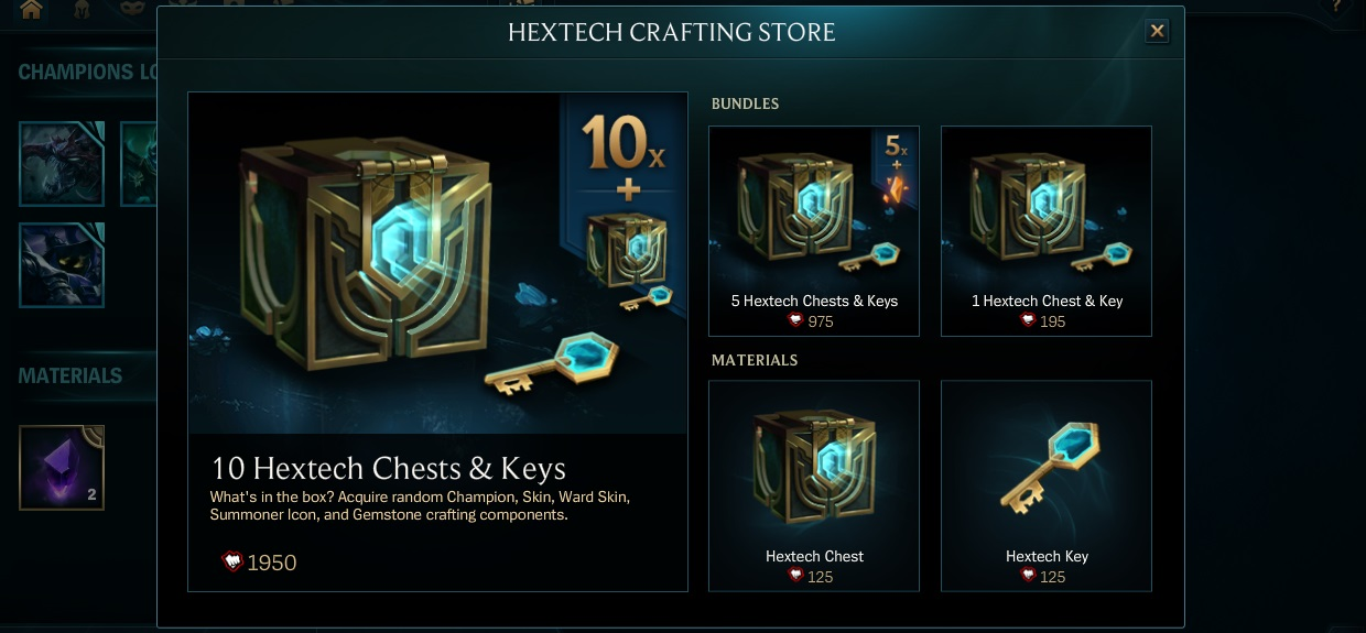 Hextech Crafting Skin Shard Prices