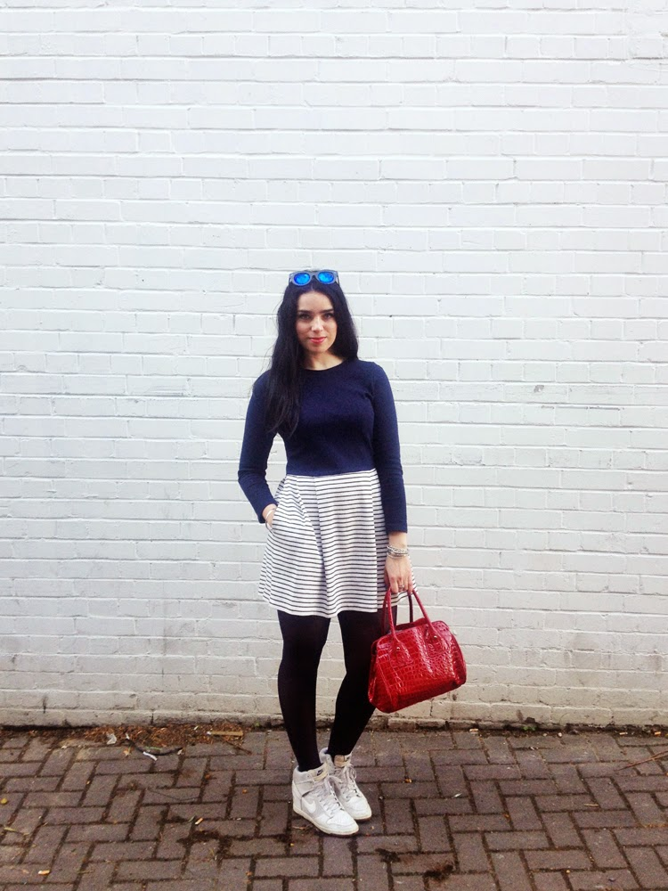 Emma Louise Layla at the Boat Race - London fashion blogger - Petit Bateau navy stripe dress