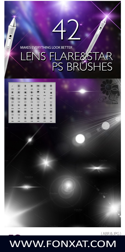 Download Photoshop brushes lens light lines and shining stars