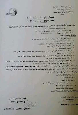 وظائف شركة مياة الشرب بالقاهرة الكبرى