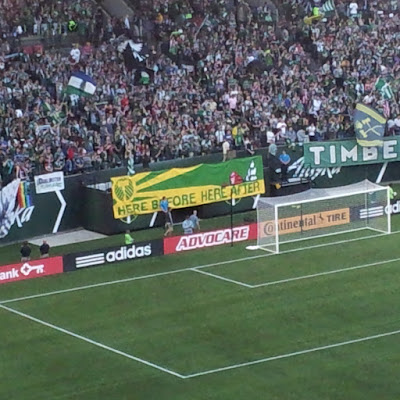 Timbers Army, North End, section 107, TA, banner