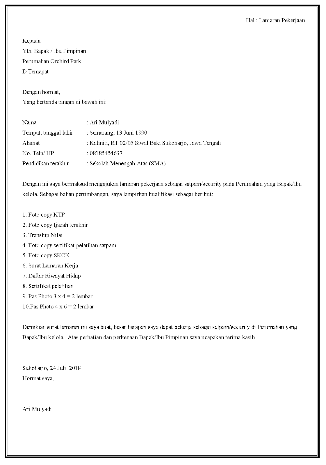 30 Contoh Surat Lamaran Kerja Security Di Berbagai Posisi Contoh Surat