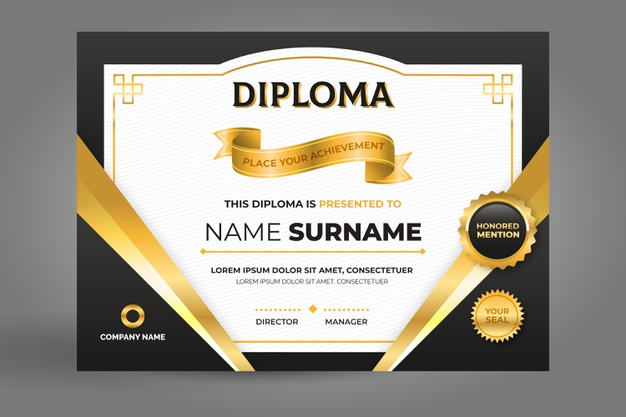 Certificate template in black and golden Free Vector Illustrations