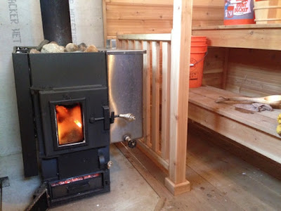 Sauna stove too close to wooden benches.