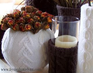 candela e porta candela riciclando un maglione vecchio