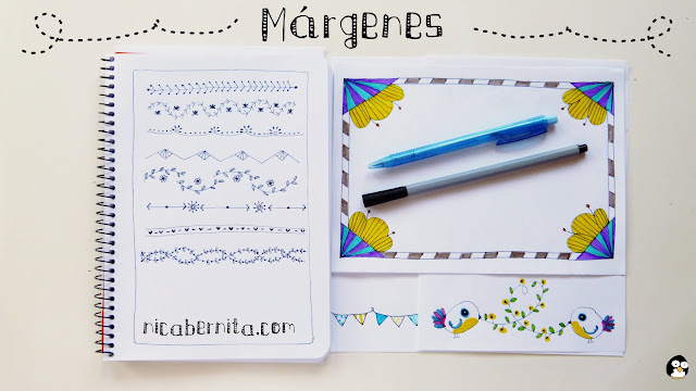 Márgenes para cuadernos, bordes  para cartas. Ideas para decorar tus apuntes y libretas.Nica Bernita