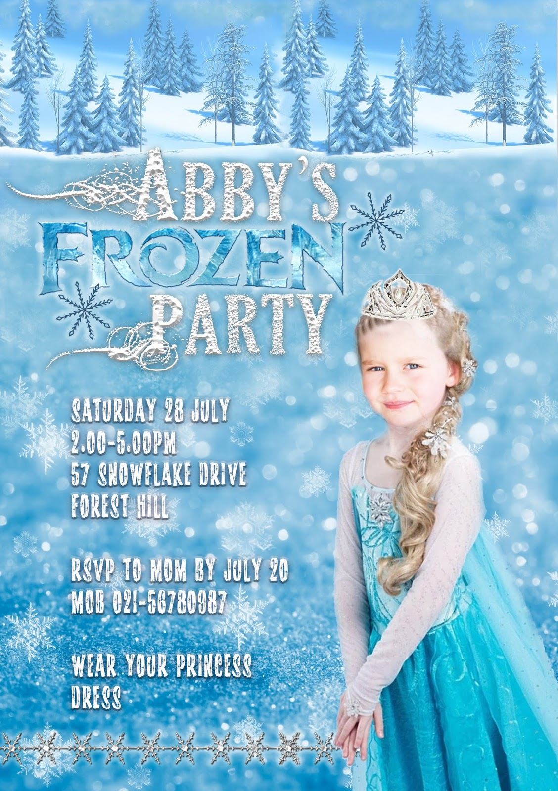 personalized disney frozen birthday invitation card templates