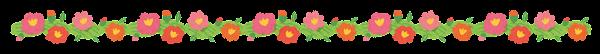 緑と花のライン素材